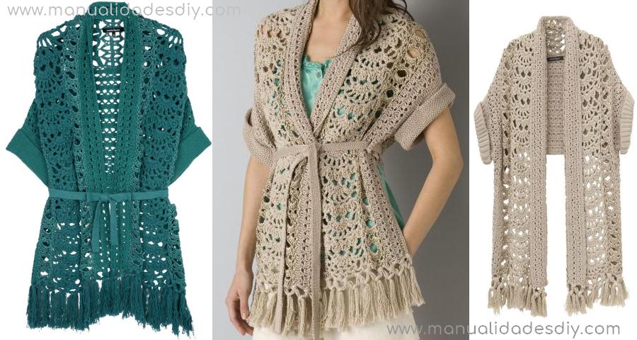 Precioso Saquito Tejido A Crochet Para Mujer Manualidades Y