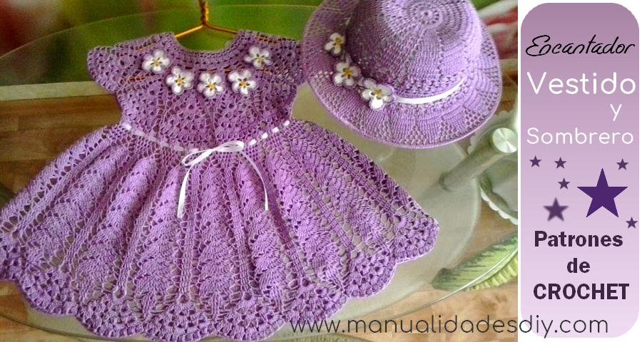 Precioso Vestido y Sombrero al Crochet con patrones y paso a paso ...