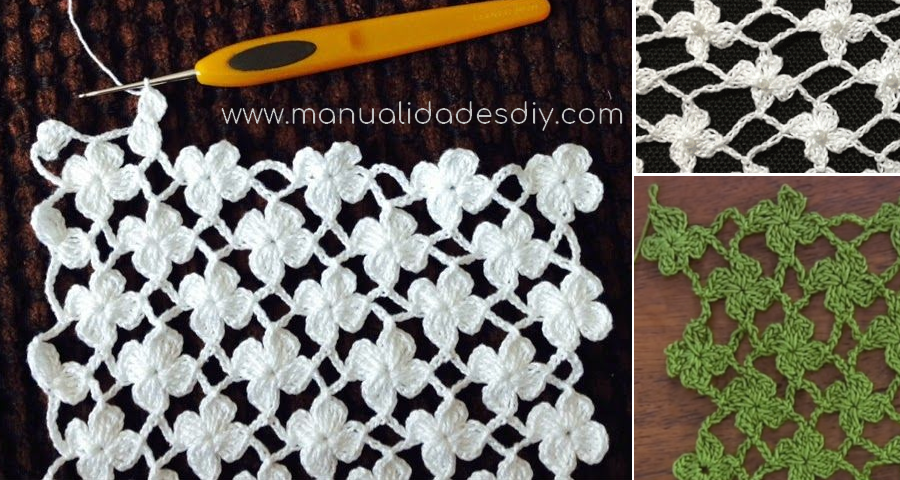 Punto red de Flores margaritas a crochet - Tutorial en video y ...