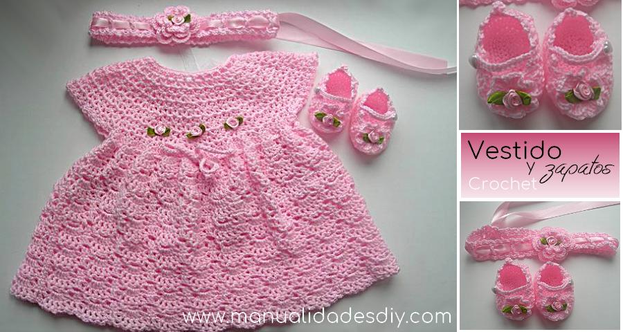 Como hacer hermoso Vestido y Zapatos a crochet para bebé ...