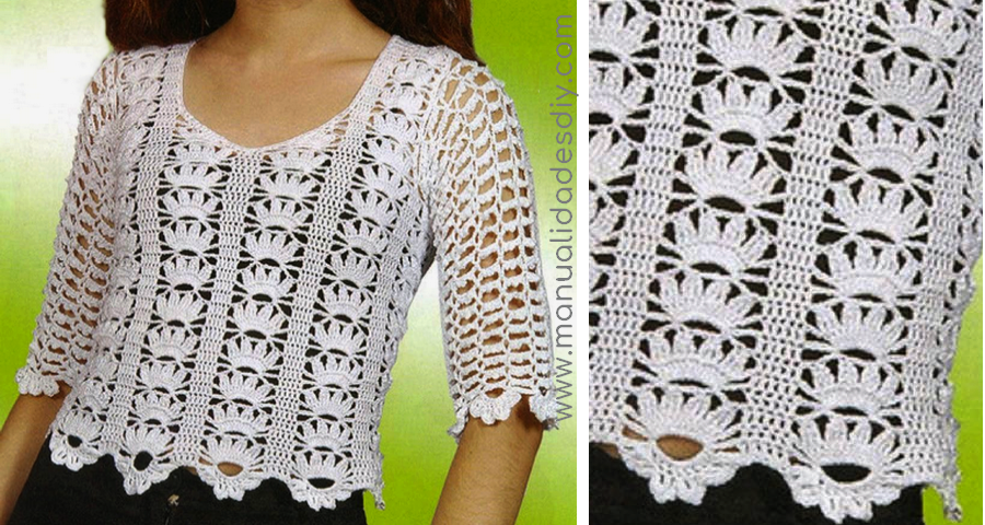 Blusa a crochet moderna con patrones - Manualidades Y ...