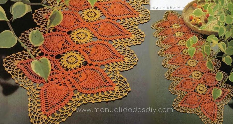 camino de mesa a crochet moderno manualidades y