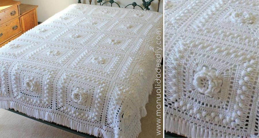 Colcha tejida crochet cuadrados manualidades y - Hacer una manta de ganchillo ...