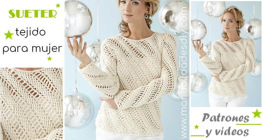 Como hacer un sueter tejido para mujer - tutorial ⋆ Manualidades Y ...