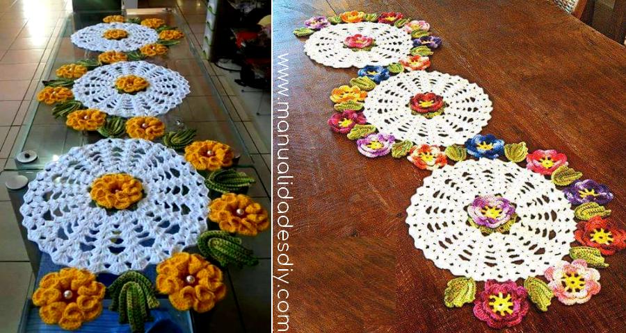 Patrones para camino de mesa a crochet con flores ⋆ Manualidades Y ...