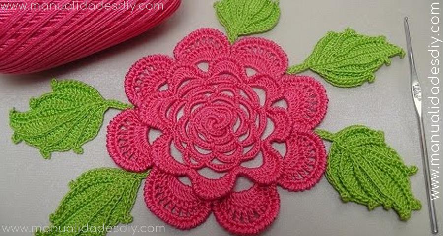 Preciosa Flor Tejida a Crochet con Tutorial Manualidades Y