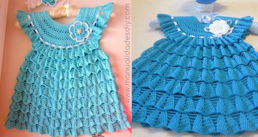 5fdbae6c1 Este es un vestidito que se adapta a cualquier talla de niña o bebé, es  ideal para clima calentito. Un bonito vestido azul, para que esta primavera  verano ...