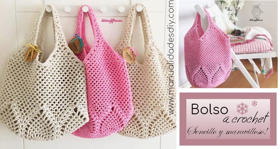 Como hacer un bolso sencillo tejido a crochet - Como hacer bolsos tejidos ...