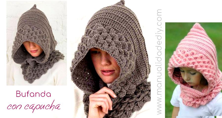 Como hacer una bufanda con capucha a crochet ⋆ Manualidades Y ...