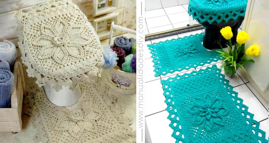 Delicado Juego para el Baño Tejido a Crochet - Manualidades Y ...