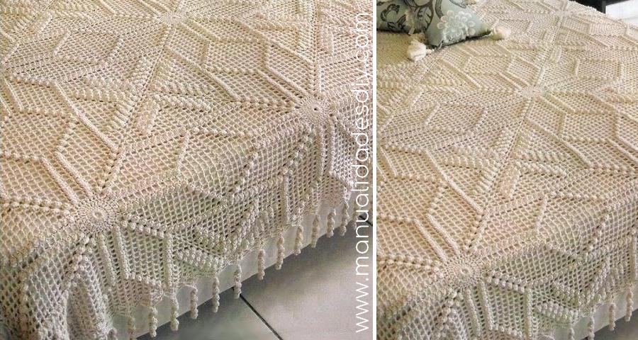 Patrón de Colcha a crochet con cuadrados ⋆ Manualidades Y ...