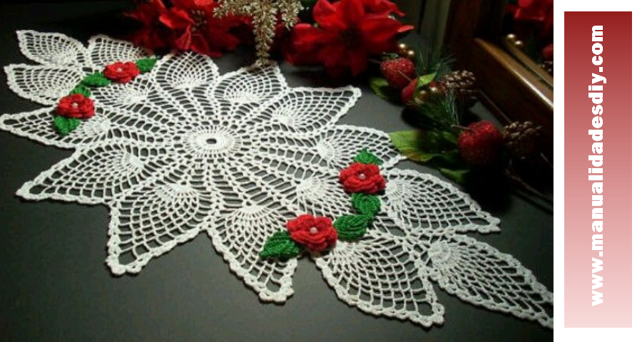 Camino de mesa con pi as a crochet manualidades y - Camino de mesa elegante en crochet ...