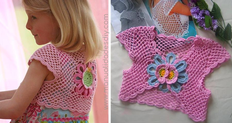 Bolero Tejido a Crochet para Niñas con Flor- video tutorial y ...