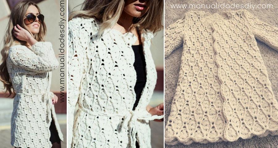 Chaqueta Tejida a Crochet con Patrón de Rombos ⋆ Manualidades Y ...