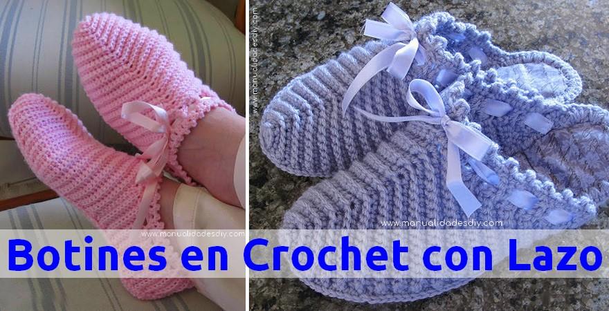 Aprende a Tejer Botines a Crochet con Lazo - Manualidades Y ...