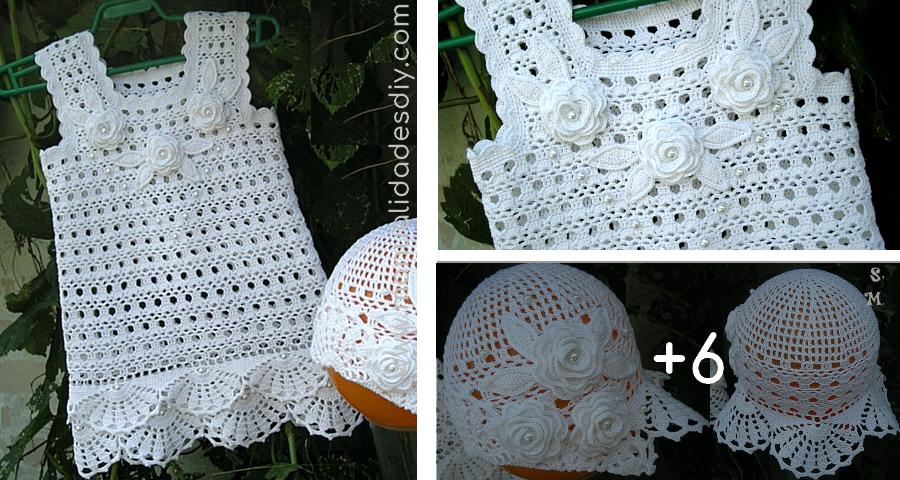 Vestido Blanco Tejido A Crochet Para Niña Manualidades Y