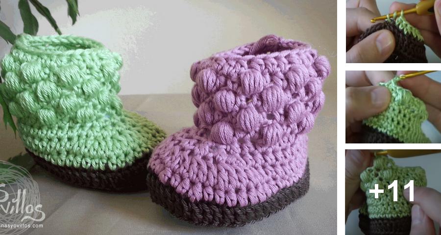 Crochet para bebe paso a paso boina a crochet para bebe estilo regala tu amiga o familiar con unas botas de bebe de lana de crochet hechas a mano calientes y hermosas ideales para mantener los pies calentitos en el thecheapjerseys Choice Image
