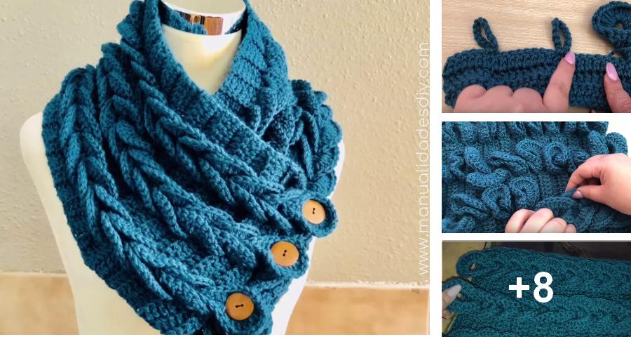 Bufanda Cuello con Trenzas en Crochet - Muy fácil ⋆ Manualidades Y ...