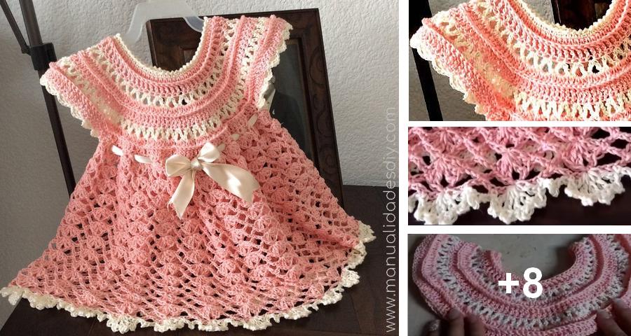 Precioso Vestido Tejido A Crochet Para Nenas Manualidades