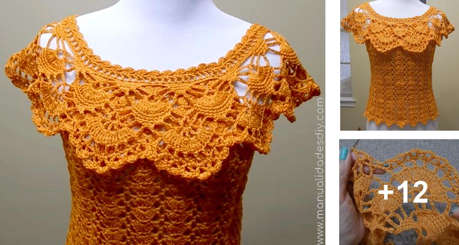 Blusa Tejida A Crochet Para Verano En Cualquier Talla