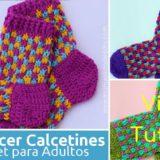 calcetines crochet adulto