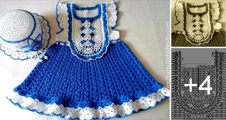 Vestido Para Niña En Dos Colores Con Patrones