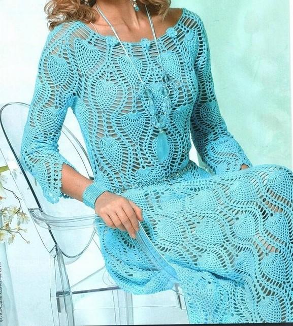 Vestido A Crochet Punto Piñas Patrones Manualidades Y
