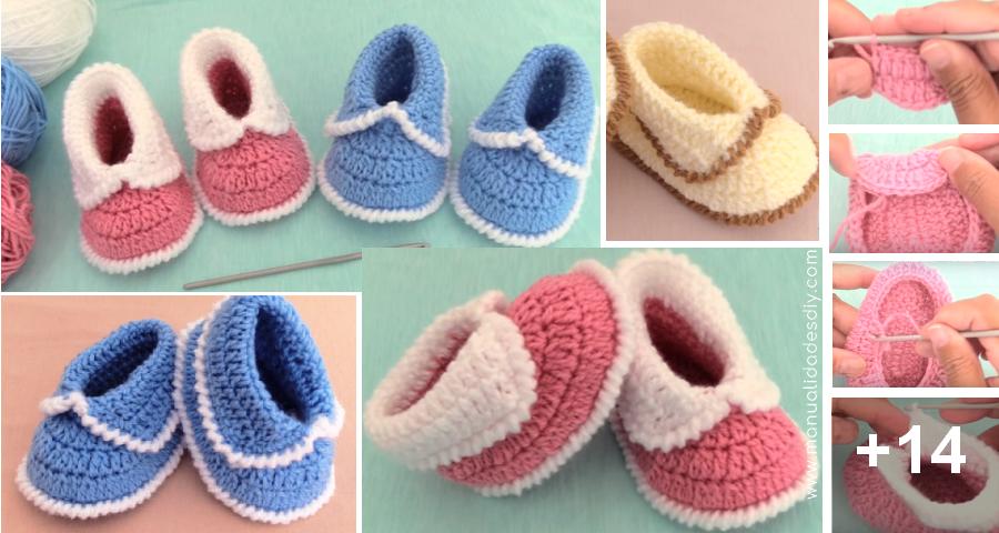 Faciles Zapatitos Tejidos a Crochet para Bebé paso a paso