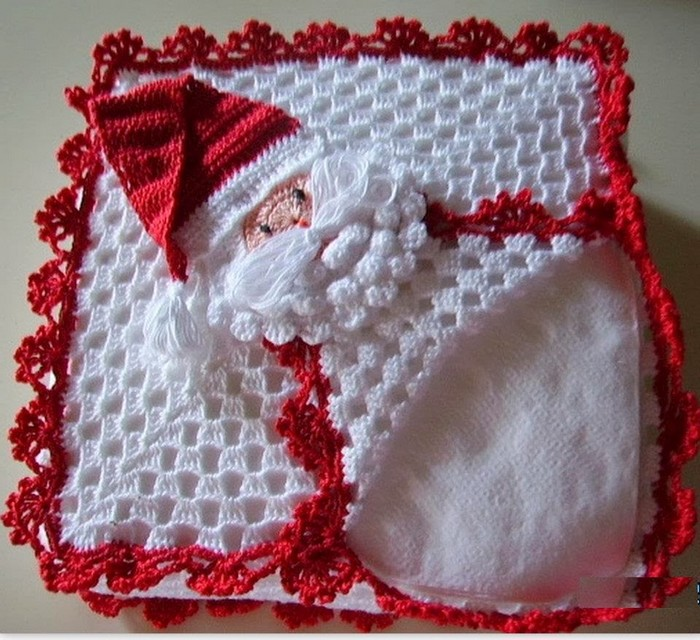 porta servilletas navideños en crochet manualidades y