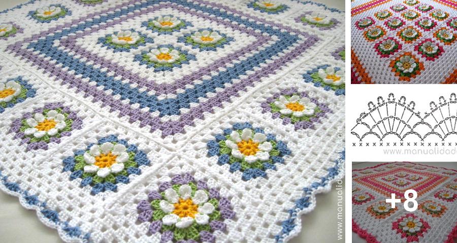 Manta a Crochet con Punto Abuelita y Flores ⋆ Manualidades Y ...
