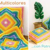 Cojines multicolores patrones