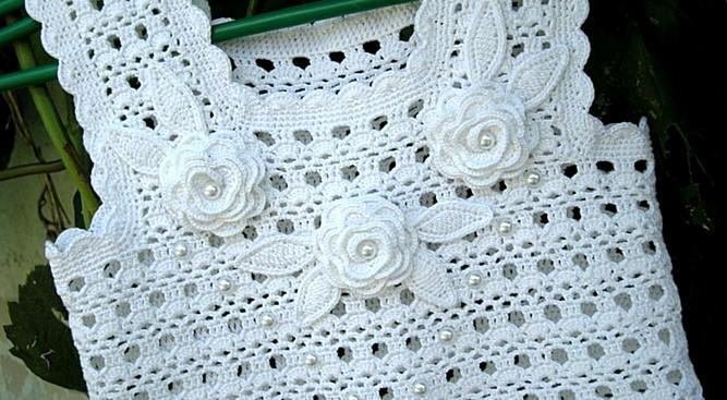 Vestido Tejido Crochet Color Blanco Elegantes Vestidos De